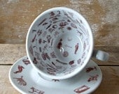 Tea Leaf Reading Cup and Saucer, Sun Moon and Stars, Tasseomancy, Tasseography, Fortune Teller,  Cup and Saucer, Ready to Ship