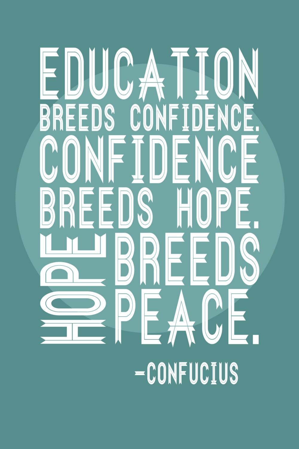 Educational Poster for Teachers Confucius Quote 20x30