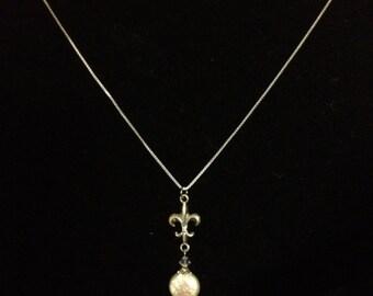 Sterling Silver Fleur de Lis Coin Pearl Necklace