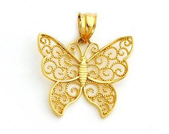 14Kt Gold Filigree Beaded Butterfly Pendant