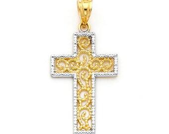 14K two-tone gold Cross charm.