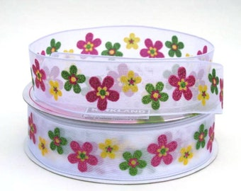 "1 1/2"" Flower Wire Edged Ribbon"
