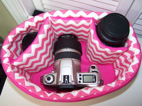 Dslr Camera Bag Insert Padded Medium NaHot Pink chevron --By Snugglens