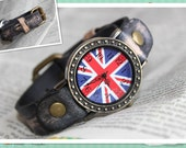flag watch face with fruit leather band real leather handmade wrist watch
