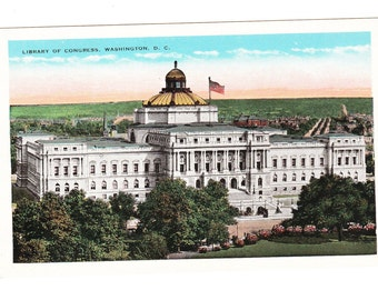 Vintage Washington D.C. Postcard, The Library of Congress (unused)