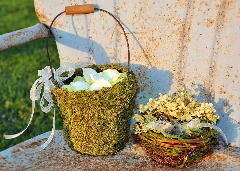 Flower Girl Baskets Green : Moss basket flower girl green bucket by