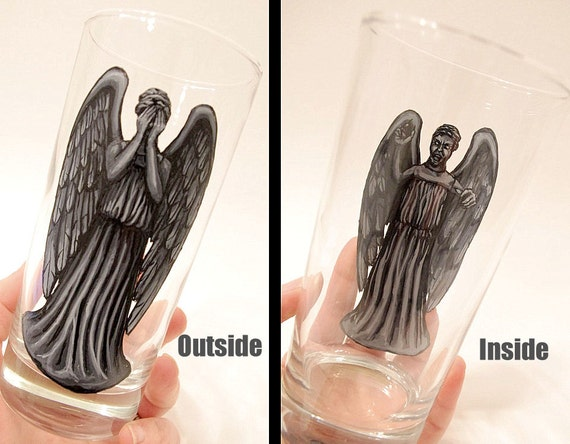 Hand painted Weeping Angel dual view glass
