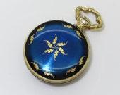 Vintage ROLAND Enameled Cobalt Blue Pocket Watch Pendant: Keeps Accurate Time