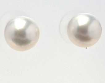 Round, White, South Sea Pearl Stud Earrings
