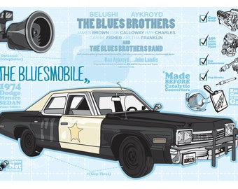 """Blues Brothers 'Bluesmobile' Poster: """"Fix the Cigarette Lighter"""", by Cutestreak Designs. 2012."""