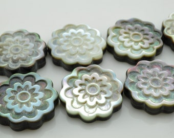 22 pcs of Black Shell carved  flower beads in18mm