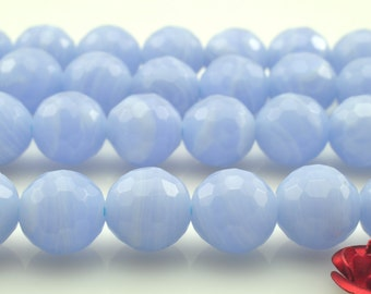 48 pcs of Blue lace agate faceted round beads in 8mm