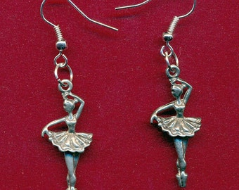 Lead free pewter ballernia dangling earrings with surgical steel french ear hooks SKU: ER1189