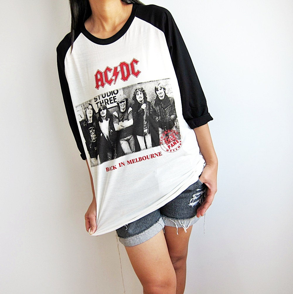 ac dc shirt baseball tee raglan t shirt men by punkrocktshirt. Black Bedroom Furniture Sets. Home Design Ideas
