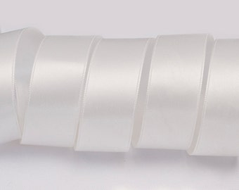 "Off White Ribbon, Double Faced Satin Ribbon, Widths Available: 1 1/2"", 1"", 6/8"", 5/8"", 3/8"", 1/4"", 1/8"""
