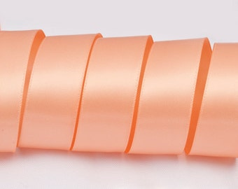 "Salmon Peach Ribbon, Double Faced Satin Ribbon, Widths Available: 1 1/2"", 1"", 6/8"", 5/8"", 3/8"", 1/4"", 1/8"""
