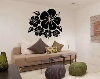Hibiscus Flower Wall Decal Cute Vinyl Sticker Home Arts Floral Wall Decals Swirl  WT026