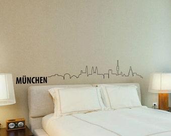 Munich Skyline Wall Decal Cute Vinyl Sticker Home Arts Europe City München Wall Decals WT094