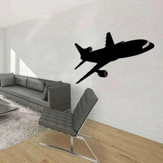 Airplane wall decal jumbo jet vinyl sticker home by piksyprint for Aeroplane wall mural