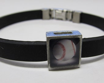 Sport Baseball Link With Choice Of Colored Band Charm Bracelet