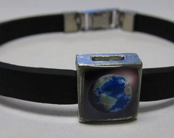 Earth Planet Link With Choice Of Colored Band Charm Bracelet