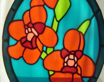 """Sawfly Orchid - stained glass effect window painting / window cling / sun catcher - 27 x 21 cm (10.75 x 8"""") - Rainbow Glass Craft"""