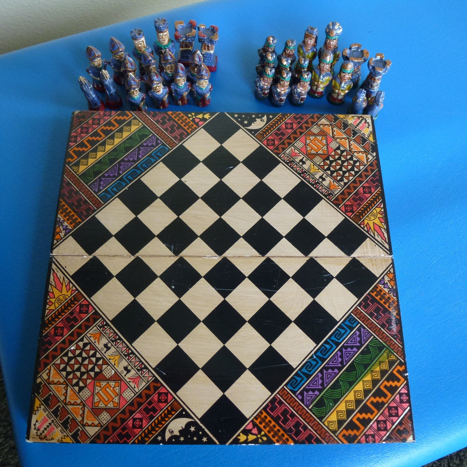 Vintage colorful ornate wood chess set unique by nvmercantile - Ornate chess sets ...
