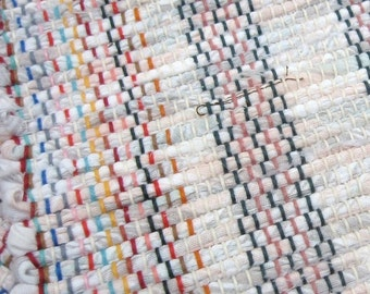 Rag Rug Peach Gray White 51 Quot X 25 Quot Hand Woven Rug Pale