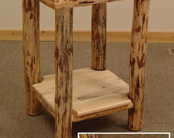 Rustic log furniture Mountain Hewn Slate Tile End Table