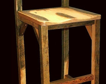 Reclaimed Barnwood Bar Chair with Contoured Seat