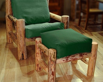 Rustic log furniture Mountain Hewn Easy Chair/Ottoman Set