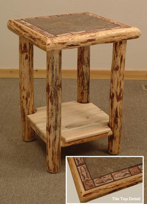 Log Side Table ~ Rustic log furniture mountain hewn slate tile end table