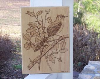 Mocking-bird and Holly Woodburning Pyrography
