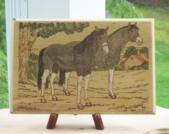 Horses Two Of A Kind  Woodburning Pyrography