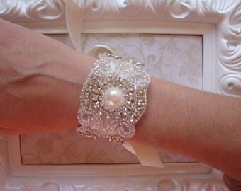 Bridal Bracelet - Rhinestone and Pearl Bridal Bracelet - Bridal Cuff - Bouquet Wrap