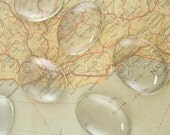 """50 Glass Cabochons 30x40mm - Clear Oval Magnifying Dome Cabs - For Cameo Pendants, Photo Jewelry, Rings Necklaces - 1 3/16"""" x 1 9/16"""" inch"""
