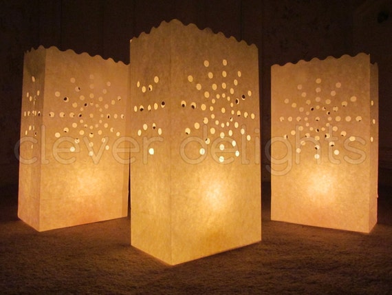 50 Luminary Bags White Sunburst Design Wedding