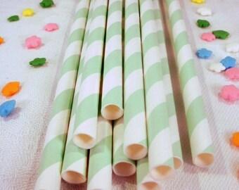 50 Mint Green Striped Paper Straws