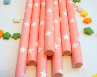 25 Pink Paper Straws with Stars