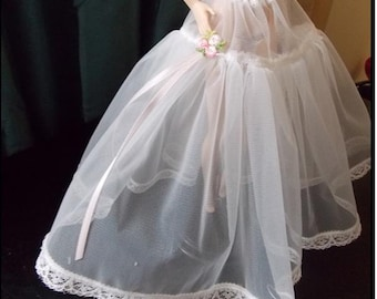 White Crinoline, Petticoat Slip, 1:6 Scale Fashion Doll Clothes for under thier Ballgowns, Wedding Dresses