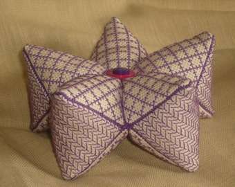 15 Sided Biscornu or Biscostar Purple Blackwork Pincushion -Contemporary twist on an Elizabethan design.