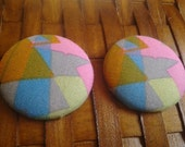 Extra Large Button Earrings-80s Barbie
