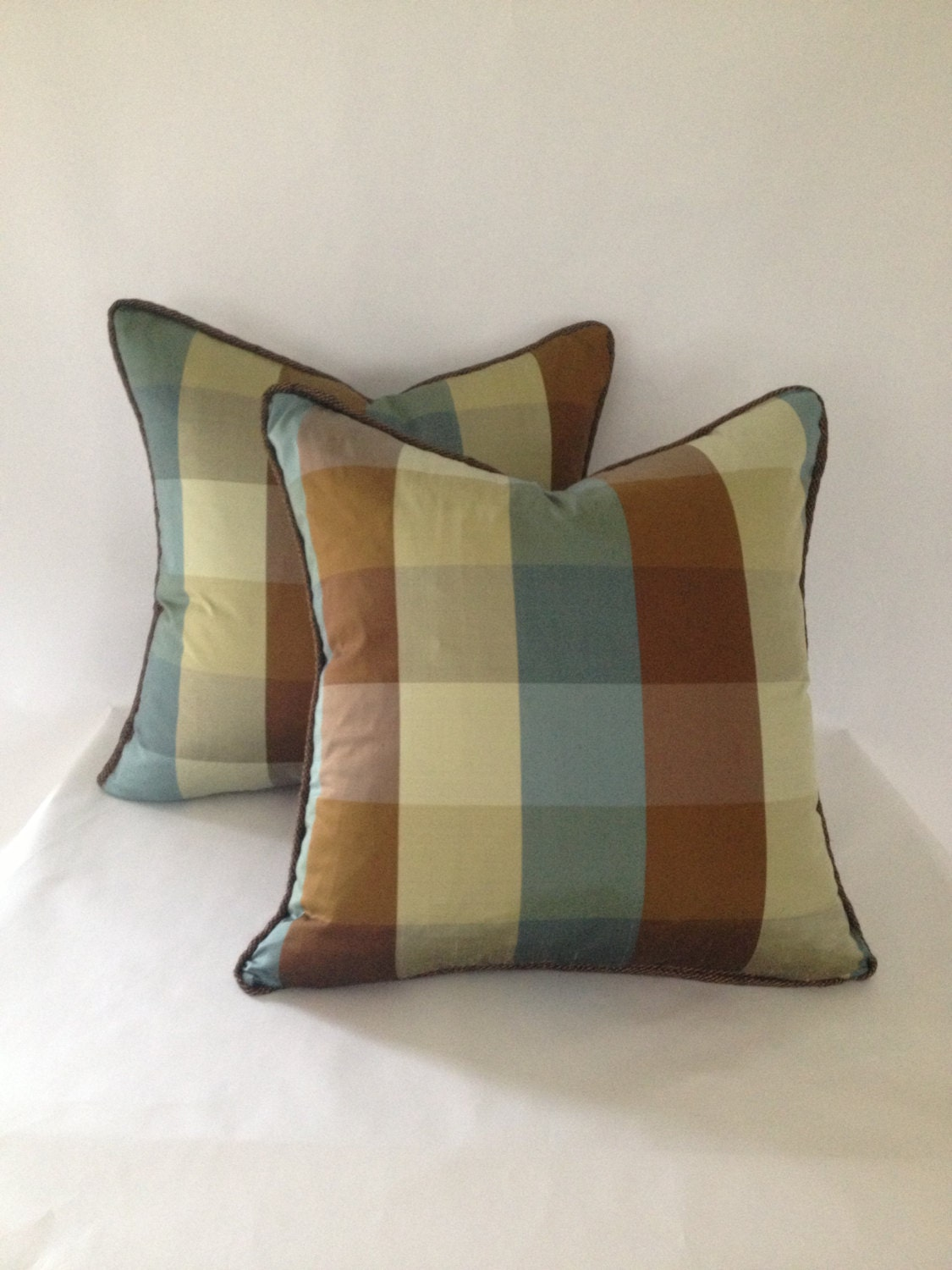 set of 2 brown green and blue plaid silk pillow covers. Black Bedroom Furniture Sets. Home Design Ideas