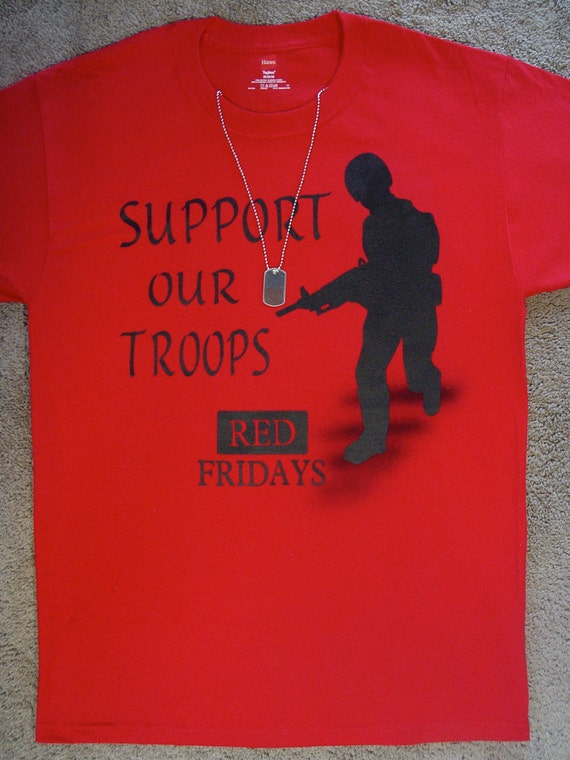 Items similar to red on fridays support our troops for Red support our troops shirts