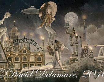 "Titanik Ink (Unframed 36""x18"" Giclée Print) Carnival Circus Art  by David Delamare"