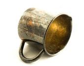 Vintage Silver Plate Creamer, Copper on Silver Plate Creamer, Rustic Primitive Home Decor