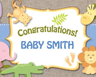Welcome Baby Boy Safari Banner