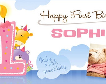 1st birthday banner girl – Etsy