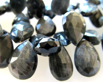 Chatoyant Silver and Black Natural Sillimanite ( Cats Eye ) Large Faceted Teardrop Briolettes 15 X 10mm - 4 inch Strand