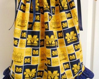Michigan Wolverines Pillowcase Dress Size 0-5T